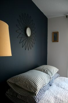 """Navy and Grey painted room! a deep, bold navy blue paint on the accent wall, inspired by Sherwin Williams SW 7602 Indigo Batik. The grey is SW Snowball - Suzannah's """"Adventures in Dressmaking"""" Room — Room for Color Contest"""