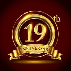 19th golden anniversary logo with gold ring and golden ribbon, vector design for invitation card and greeting card for birthday party celebration.