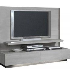 Meuble tv en ch ne massif gris l 160 cm baltic for Meuble quebecois contemporain