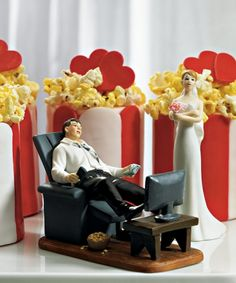 """""""Couch Potato"""" Gamer Groom Figurine and Exasperated Bride Mix & Match Cake Toppers"""