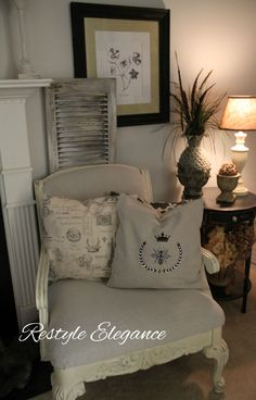 No sew pillows Facebook.com/RestyleElegance #paintedfurniture #chalkpaint #homedecor #diy