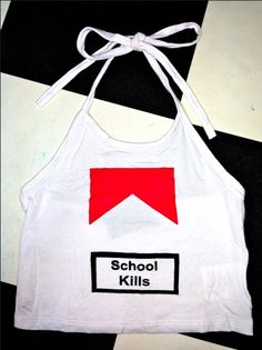 SCHOOL KILLS  Round neck halter tank ft. #omighty print Cotton spandex blend Stretchy AF Cropped