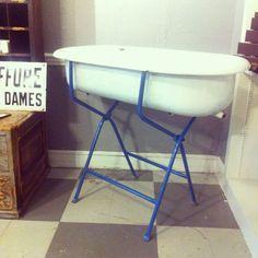 Vintage Hungarian Enamel Baby Bathtub On Blue Folding Metal Stand.