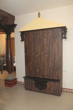 10 Traditional Pooja Room Designs From a Designer Farmhouse Living Room Furniture, Living Room Kitchen, Bed Furniture, Gold Wallpaper Living Room, Dorm Room Doors, Mandir Design, Pooja Mandir, Pooja Room Door Design, Puja Room