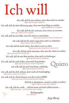 Ich will / Quiero. Plakat