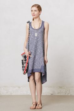 Bahia Terry Dress from Anthropologie - High-low hem on a sweatshirt-material dress with artistically chosen heather effect and contrast stitching; casual but totally feminine and together.