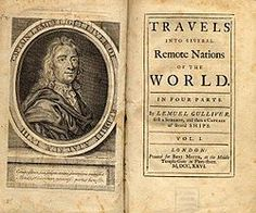 Title page of first edition of Gulliver's Travels by Jonathan Swift. Photo By: Wikimedia Commons Robinson Crusoe, H Words, Cool Words, Best Dystopian Novels, Mars Facts, Modest Proposal, Jonathan Swift, Gulliver's Travels, Political Satire