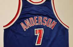2b91a3d3f1ed Kenny Anderson Champion Jersey New Jersey Nets NBA Rare Brookyln Blue Mens  44 New Jersey