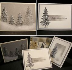 By Donna. Two cards at left: Stamp in white ink; then overstamp in black a bit to the left of the first stamping. Sponge snow with white ink & sky with tan or gray ink. Add snowflakes with white gel pen. Bottom right card uses gray ink for the first stamping of the tree. Top right: Stamp tree in black. Mask rectangular area for sentiment; then sponge. Stamp sentiment.