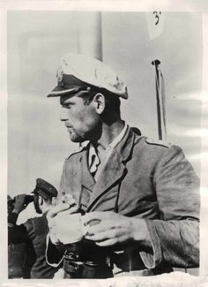1941- German U-Boat hero Lieutenant-Commander Joachim Schepke. Seventh recipient of the Knight's Cross of the Iron Cross with Oak Leaves