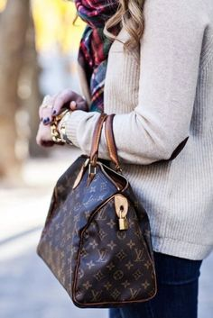 Blanket scarf & elbow patch sweater.
