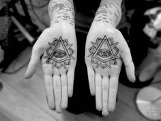 eye of providence on hand palms, by chaim machlev, dotstolines
