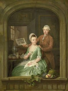 Painted in 1778 by Nicolaes Muys: The engraver Robert Muys (1742-1825) and his wife Maria Nozeman, Rijksmuseum Amsterdam