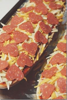 French Bread Pizza with heart-shaped pepperonis for Valentine's Day dinner