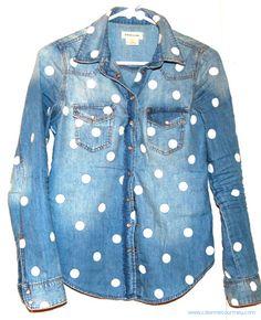 customização de camisa jeans