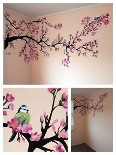 Bilder Wandmalerei: Frühlingsbaum Babyzimmer Mehr Get Your Dream Dining Room with the Right Furnitur Cherry Blossom Tree, Blossom Trees, Cherry Blossom Painting, Cherry Blossom Bedroom, Cherry Tree, Spring Painting, Painting For Kids, Baby Painting, Tree Wall Painting