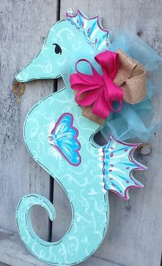 Summer door hanger seahorse door hanger by Angelascreativecraft