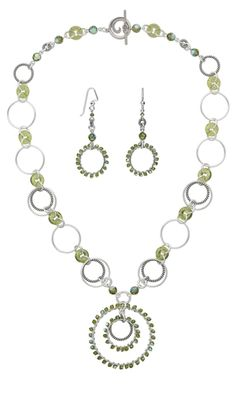 Single-Strand Necklace and Earring Set with Swarovski Crystal Beads, Czech Glass Beads and Sterling Silver Rings
