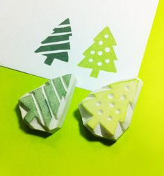Christmas tree rubber Stamp.