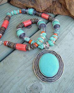 Boho Turquoise Necklace Statement Necklace Multi by BohoStyleMe