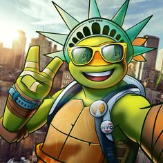 """tmnt: """"After a stint in space, the Turtles being back in the big apple's real sweet. So is this art by @rockydavies! """""""