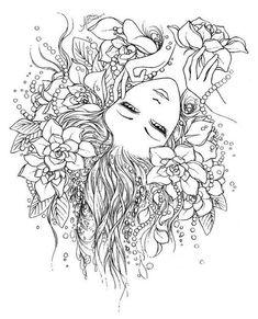 coloriage coloring femme woman flower fleur Coloriage