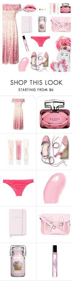 """""""Cupcake Pink"""" by alongcametwiggy ❤ liked on Polyvore featuring Giamba, Gucci, Victoria's Secret, Gap, Roxy, Christian Dior, Kate Spade, Pink Sugar and Byredo"""