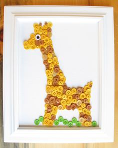 Giraffe Button Animal, Yellow, Canvas Panel, 8x10. $25.00, via Etsy. You could totally make this yourself.