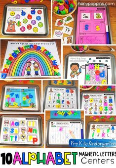 Fun alphabet centers and activities using magnetic letters. Great for preschool, pre-k and kindergarten. These hands-on activities focus on letter recognition, beginning sounds, abc order and letter formation. Abc Centers, Kindergarten Centers, Kindergarten Literacy, Letters Kindergarten, Literacy Centers, Early Learning Activities, Letter Activities, Preschool Activities, Teaching Resources