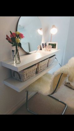 Such a good idea for a small room x I love the idea with the baskets
