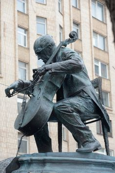 Statue of Mstislav Rostropovich, a Russian cellist from the 2nd half of the 20th Century. He is known as one of the greatest musicians of all time, and also for his public opinion disapproving the Soviet Union's strict control over the arts, freedom of speech, and democracy. This statue was released April 1st, 2012 and is located downtown Moscow, close to his old home. He died in 2007.