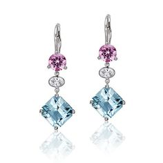Pretty in Pink . Er, Sorry, Pantone: Pink-and-Blue Aquamarine Earrings, Drop Earrings, Aqua Marine, Oval Diamond, Pantone, Pretty In Pink, Belly Button Rings, Fashion Jewelry, Jewelry Design