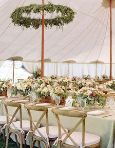 Elegant garden-inspired white wedding reception with green details; Featured Photographer: Aaron Delesie
