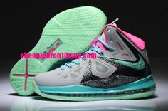 Lebron 10 South Beach Womens Wolf Grey Black Pink Cheap Lebron James Shoes