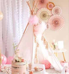 #sleepoverparty #teepee #sleepover Kids Party Hire, Sleepover Party, Slumber Parties, First Birthday Parties, Rose Gold Theme, Teepee Party, Tulle Poms, Online Party Supplies, Balloon Bouquet