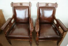 Potential pair of chairs for new sitting room in front of fire arts crafts armchairs circa 1880 ARTS CRAFTS ARMCHAIRS CIRCA 1880