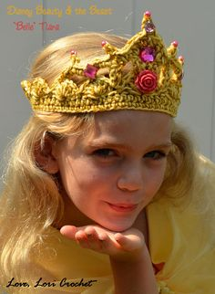 This listing is for one hand crocheted, Disney, Beauty & The Beast, Belle Tiara, hand beaded in sparkly accents. You choose the size and please indicate in the notes, all yellow, yellow with dark magenta or yellow with lighter pink and size. Each Tiara comes safety pinned with a cute,
