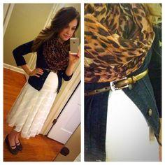 Modest Maternity Fashion. Leopard Scarf, Jean Jacket, Lace Dress. Modern Modesty featuring @michellehoover