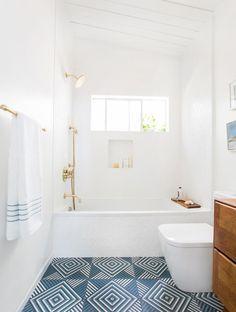 White and blue bathr