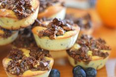 Orange-Blueberry Muffins with Pecan Streusel | DJ Foodie Keto App, Muffin Mix, Blue Berry Muffins, Muffin Recipes, Pecan, A Food, Blueberry, Dj, Baking