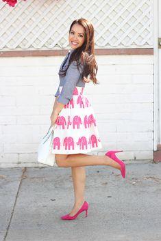 StylishPetite.com   Custom Elephant Print Skirt and Chambray (plus J.Crew Factory Petites and WHBM sale alert)