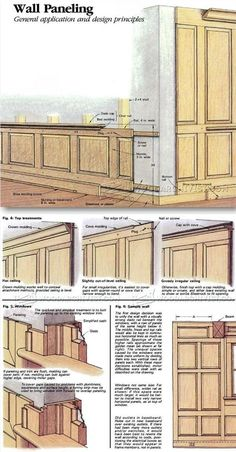 Wood Wall Paneling - Wainscoting and Paneling Tips and Techniques - Woodworking, Woodworking Plans, Woodworking Projects Wood Panel Walls, Wood Paneling, Wood Wall, Panelling, Woodworking Plans, Woodworking Projects, Beadboard Wainscoting, Moldings And Trim, Moulding
