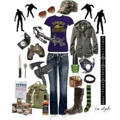 This is my zombie prep set...anything a girl might need to survive the zombie apocalypse!