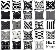 Black Pillow Covers Black and White Pillows by CastawayCoveDecor