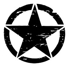 Pixel Hut Matte Black Distressed Army Star Hood DecalOscar Mike Military Style 20 inch Distressed Star Hood Decal in Matt Black Produced from Premium Or Bumper Stickers, Custom Stickers, Five Pointed Star, Star Logo, Star Tattoos, Star Designs, Psychedelic, Vinyl Decals, Jeep Decals