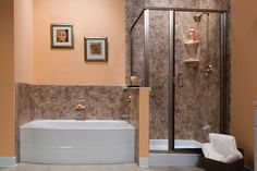 Shower and separate bathtub.