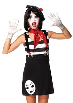 Miss Mime 4 Piece Juniors / Teen Child Costume: 2 piece jinxy kitty, includes fur trimmed asymmetrical dress with attached tail and matching furry ear headband. Mime Halloween Costume, Link Halloween, Halloween Costumes For Teens, Toddler Costumes, Pet Costumes, Girl Costumes, Costumes For Women, Halloween Makeup, Halloween Ideas