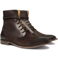 Maison Martin Margiela Waxed Suede and Leather Boots | MR PORTER