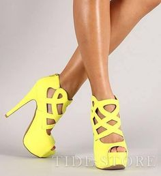 #Heel #Sandals #Yellow Fancy Yellow Cut-Outs Peep Toe High Heel Shoes