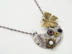Steampunk Necklace silver engraved vintage by steampunknation, $89.00